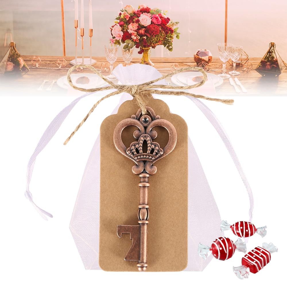 50pcs Antique Key Shape Bottle Opener Metal 5 Style Vintage Opener Rustic Wedding Souvenir Decor Gift Party Favor Supplies