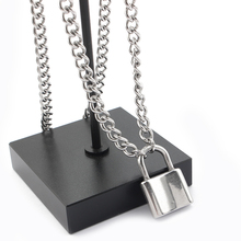 Stainless Steel Silver Color PadLock/Smiley face Pendant Necklaces Link Chain Lock Necklaces Rock Choker Necklace Gift Jewelry stylish smiley face lace choker necklace