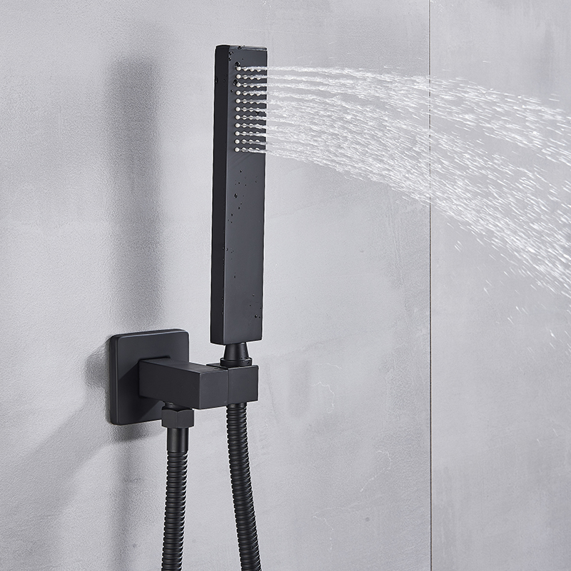H7b8cc72d23d84cb0acff954f9cdb29b39 Matte Black Rain Waterfall Shower Set Thermostatic Mixer Bath Shower Mixer Tap 3 ways Shower Faucet Wall Mounted