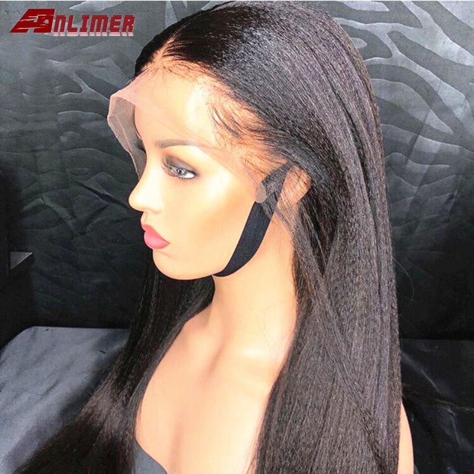Luz yaki em linha reta 360 perucas de cabelo humano frontal do laço peruca italiana brasileira de yaki 8-26 wigs wigs perucas de cabelo humano remy com faixas elásticas