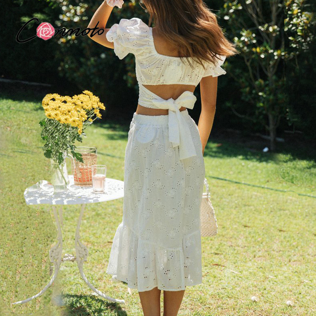 Conmoto Casual two-piece mesh white lace dress women Vintage bandange short crop top suit summer Puff sleeve holiday dress sets 3