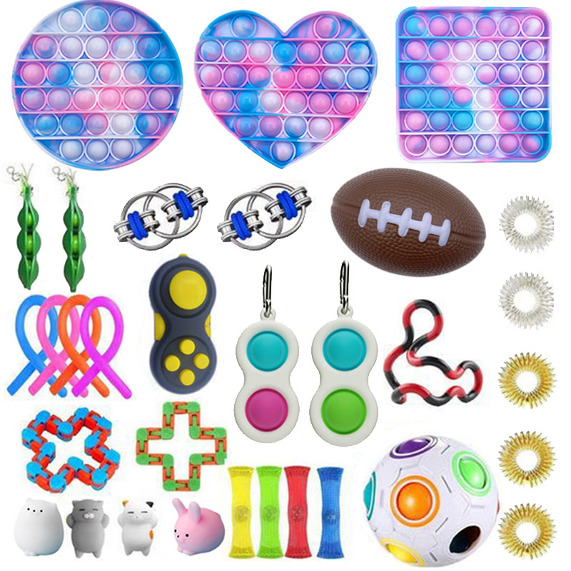 Fidget-Toys Gift-Pack Anti-Stress-Set Pop-It Squishy Relief Stretchy-Strings Sensory
