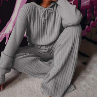 Conjunto de pijama de punto para mujer, ropa de dormir holgada con capucha y pantalones, traje para casa de manga larga para Otoño e Invierno