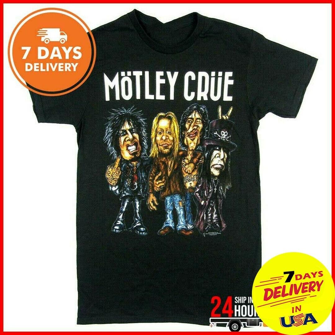 Camiseta de caricatura de Motley Crue camiseta de la gira Final de la banda de Rock camiseta Unisex S-6XL