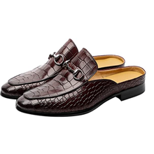 Muller sapatos masculinos chinelos de couro chinelos casuais fivela de metal chinelos de escritório zandalias de moda 2021 zq0190