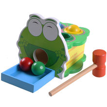 Дети Монтессори деревянная лягушка стук настольная игра мяч