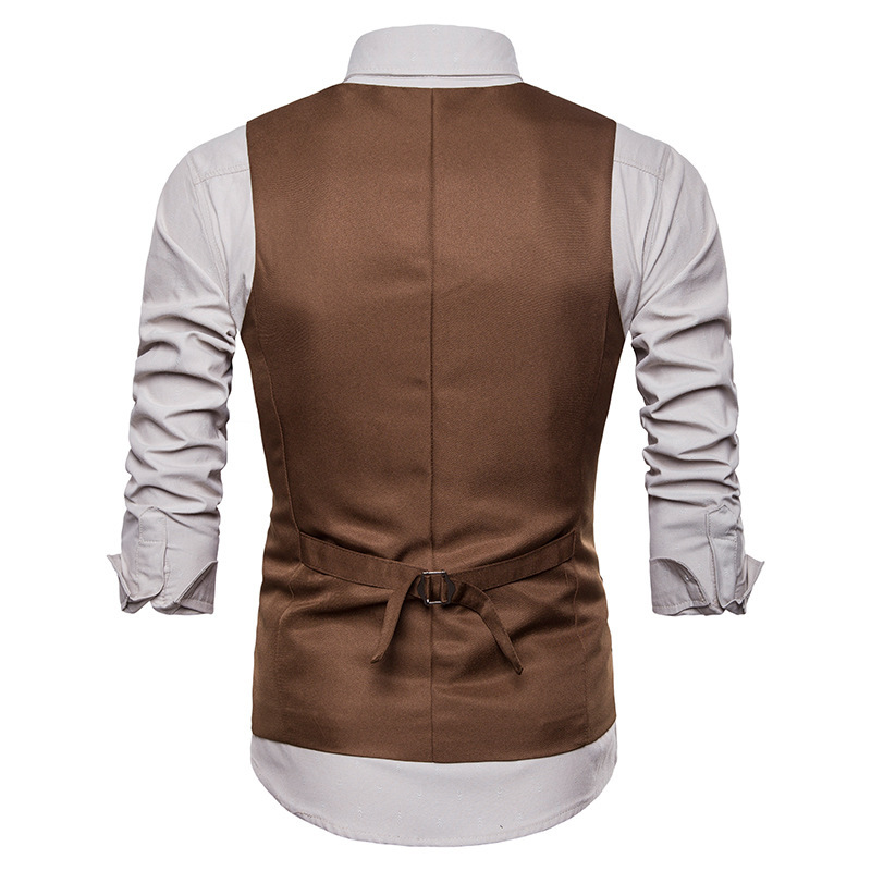 Men Suit Vest V Neck Brown Black Single Button Slim Men Waistcoat Casual Formal Business Groomman for Male Wedding Vest in Vests from Men 39 s Clothing