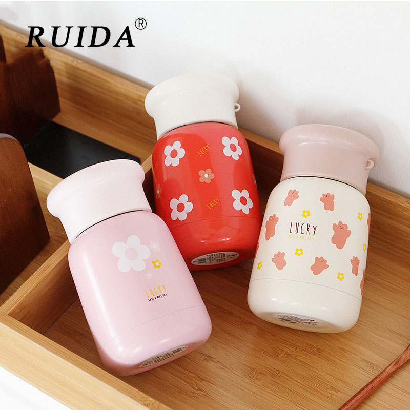 Cute Cartoon Thermos Cup 304 Stainless Steel Vacuum Flasks 270ml mini Travel Insulation Drinking Water Bottle Coffee