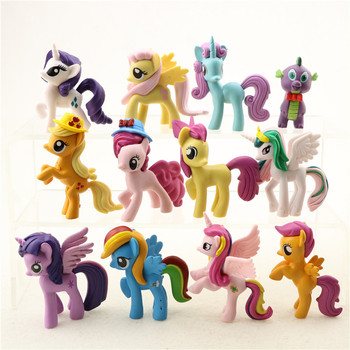 12 pcs/set 6-7cm My little Pony PVC Rainbow Horse Cute Little Action Toy Figures Dolls For Girl Birthday Christmas Gifts