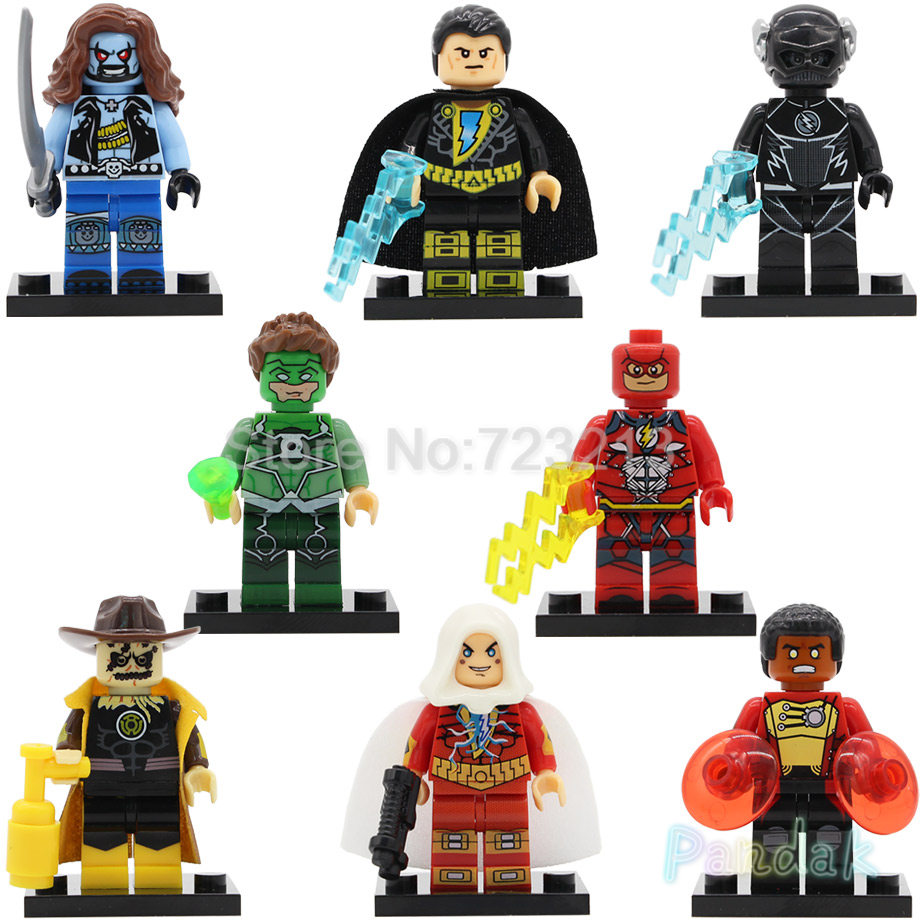 DC Black Adam Lobo Super Hero Single Scarecrow Firestorm Black Flash Green Lantern Building Blocks Model Figure Toys Legoing