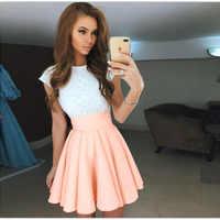 Mini vestido Kawaii de encaje para Mujer, Vestido de playa de verano para Mujer, bonito vestido de fiesta acampanado de Color caramelo, nuevo vestido plisado de talla grande GV651