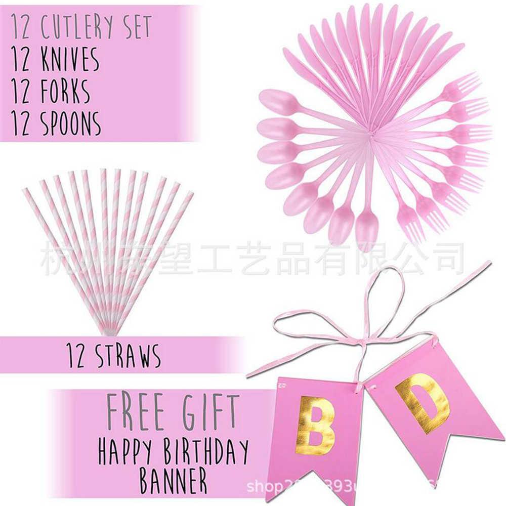 72 Pcs Unicorn Peralatan Makan Pesta Pink Kertas Cangkir Kertas Handuk Tray Perlengkapan Pesta Ulang Tahun Dekorasi Alat Peraga