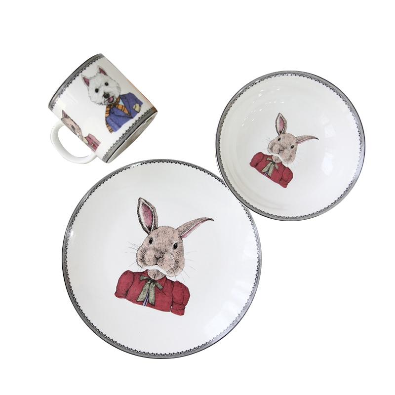 Mr lapin animal mignon service de table en céramique | Assiette à déjeuner assiette à Dessert, assiette pour enfants, coffret de dîner, cadeau pour enfant