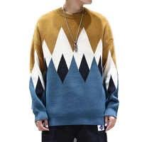 Suéter de marca de invierno de 2019 para hombre, cuello redondo, jerseys geométricos de manga larga para hombre, suéteres sueltos de estilo Preppy para hombre