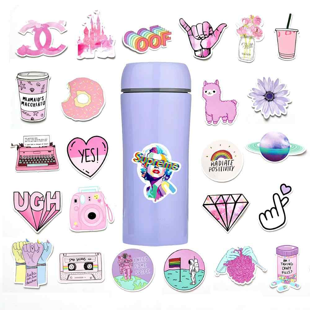 53 Pcs Pink Aesthetic Sticker Pack Vinyl Waterproof Water Bottle Laptop Feminists Trendy Stickers Decal Graffiti Patches Stickers Aliexpress