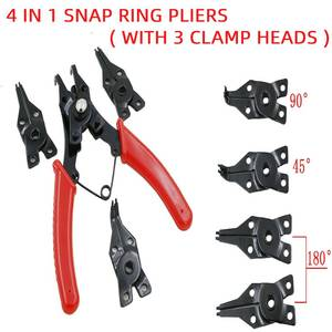 Multi Crimp Snap Ring Pliers Multifunction Pliers Tool Internal External Ring Remover Retaining Circlip Plier With 3 Clamp Heads