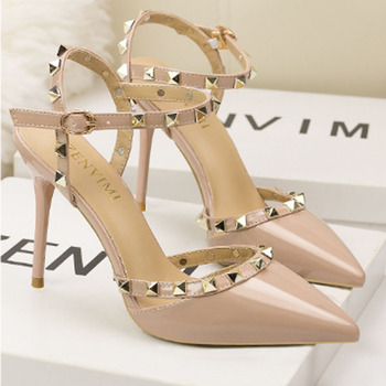 Women's sexy stiletto heels women's shallow mouth pointed head rivet hollowed-out word with sandals high heels sandals