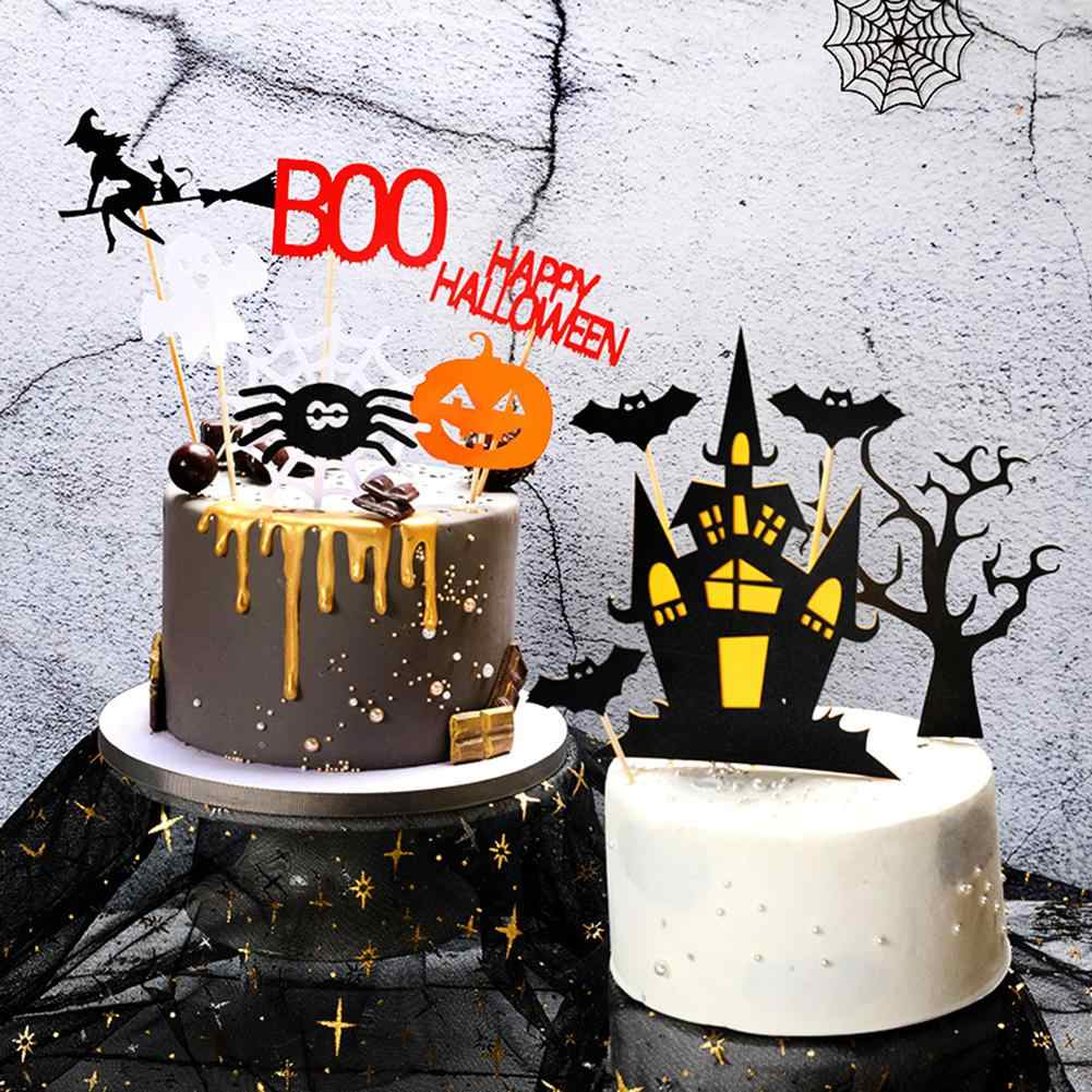 10 Halloween Witches Hat with Spiderweb and Bat Cake Topper Cupcake Topper Table Decoration Party Favor Party Supply Halloween Party
