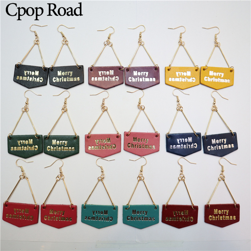 Cpop New Gold Letter Christmas Genuine Leather Earrings Trendy Simple Statement Fashion Jewelry Women Accessories 2019