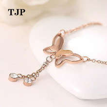 Delicate Butterfly Anklet Rose Gold Titanium Steel Chain Bracelet Women Girl Lover Barefoot Fashion Foot Jewelry