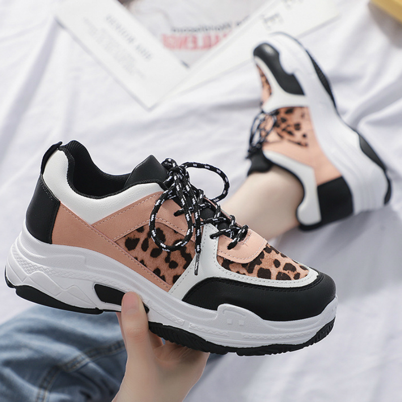 Leopard Sneakers 2019 Fashion Spring Autumn Women Sneakers Lady Black Road Famle Trainers Causal Shoes Woman Sports Shoes A25-01
