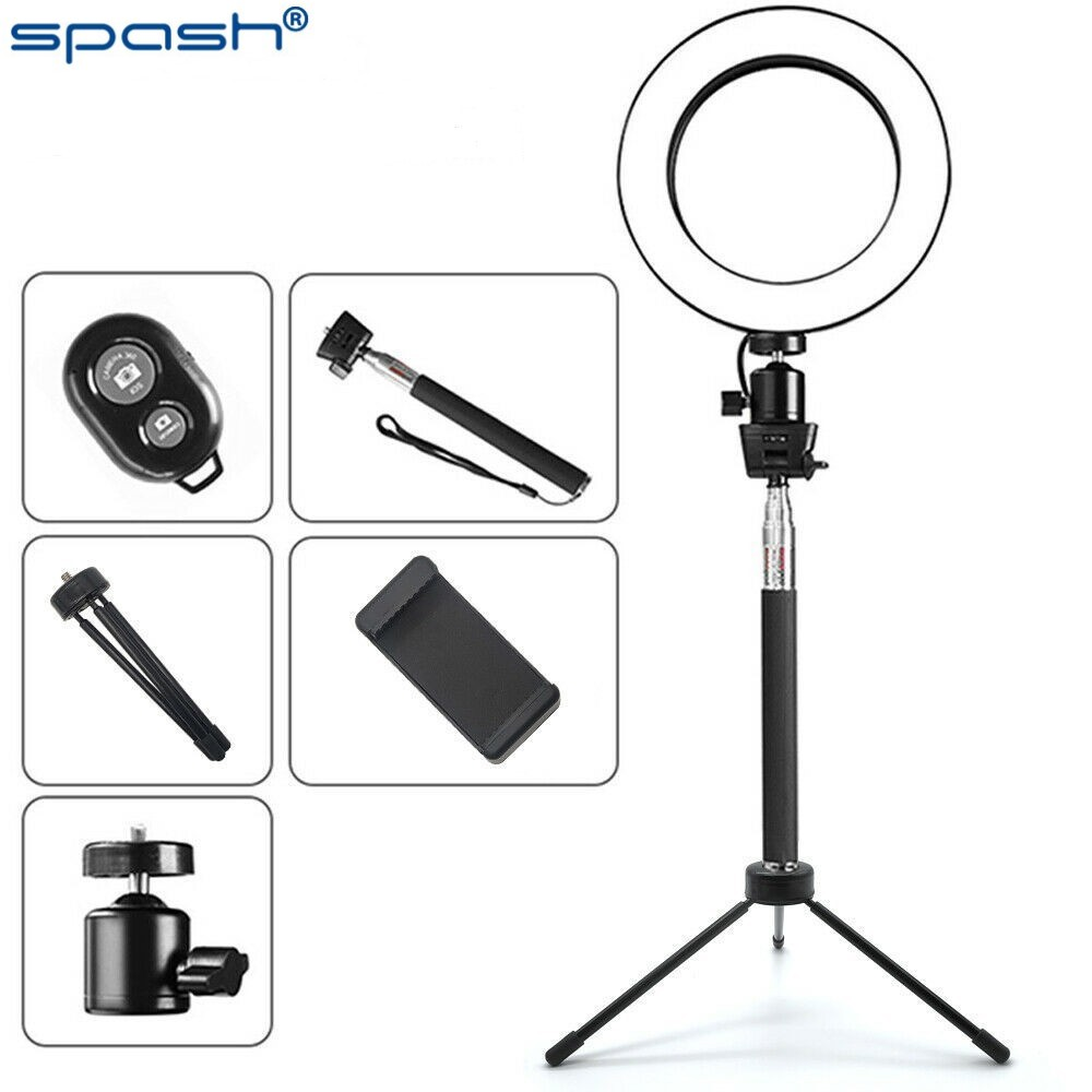 Spash 6 Cal lampa pierścieniowa LED z rozciągliwym stojak trójnóg świecący pierścień ściemniania telefon lampa do Selfie dla życia makijaż fotografia