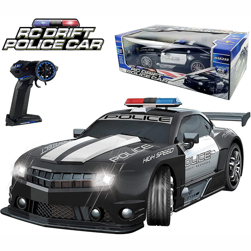 2.4GHz Super Fast 1:12 RC Police Sports Car Toys Radio Remote Control Hot Pursuit Cop Chase Drift Patrol Vehicle Flashing Light