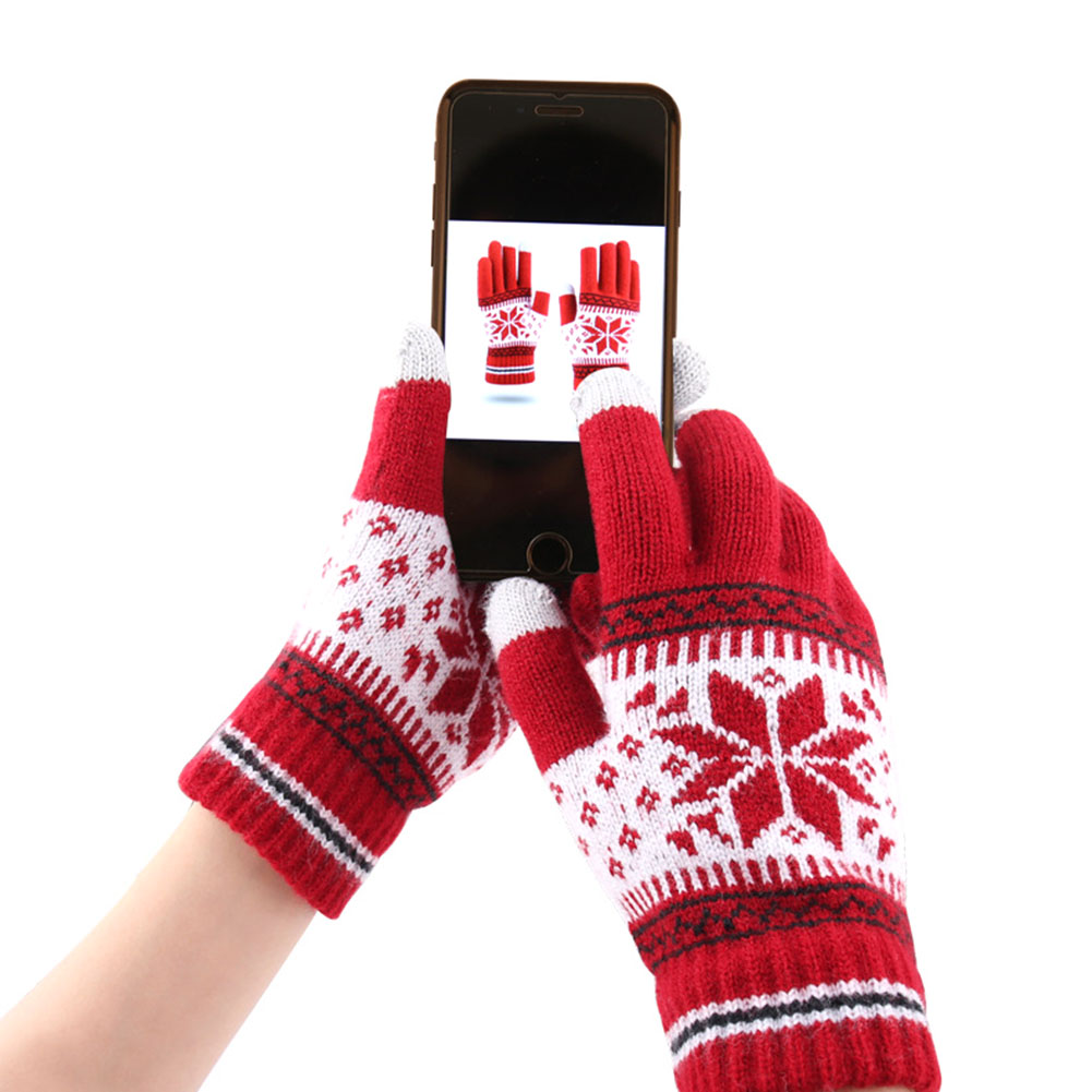 Warm Winter Women Knitted Gloves Cute Christmas Deer Fashion Full Finger Mittens Christmas Pattern Touch Screen Knit Gloves