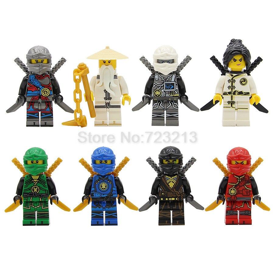 8pcs/set Hot Figure Ninja Set Jay Kai Zane Lloyd Master Wu Nya Model Building Blocks Kits Brick Toys For Children Legoing