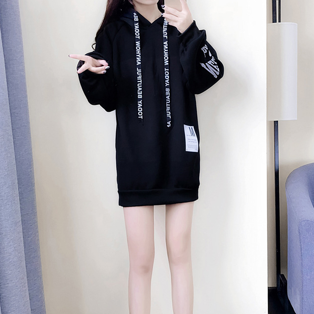 Spring Hot Sale Fashion Women's Casual Style Hooded Hoodie Long Sleeve Sweatshirt Dress Casual Loose Tunic Dress Tops 2020 New D