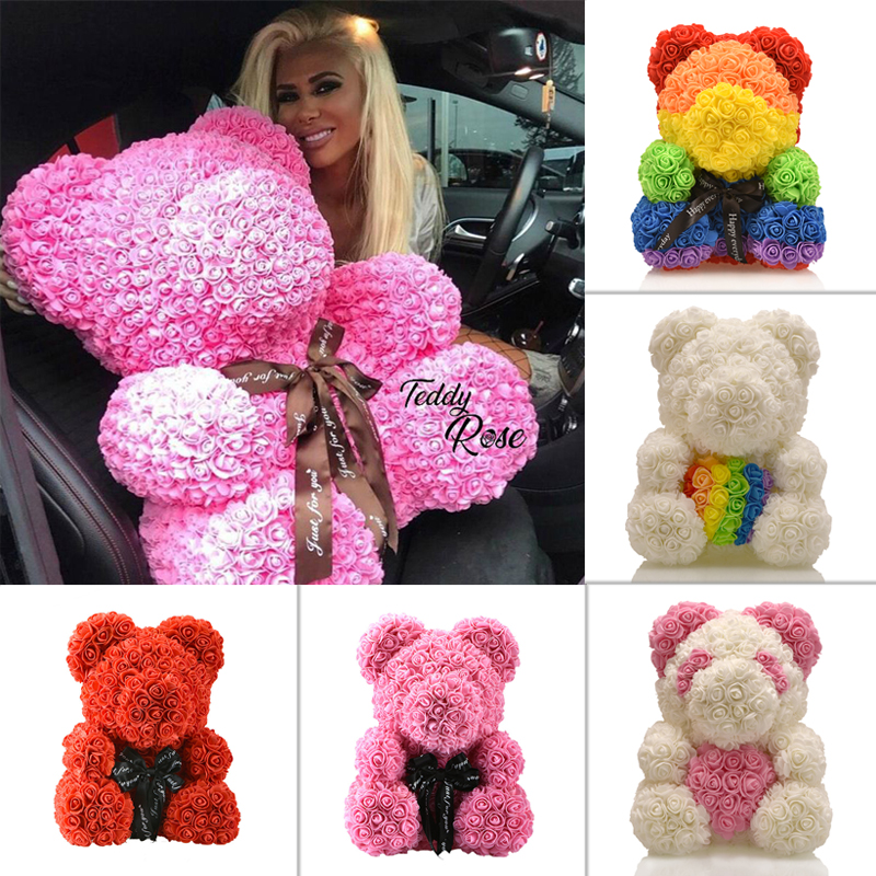 2019 Wholesale Cheap 40cm Red Bear Rose Teddy Bear Rose Flower Artificial Decoration Christmas Gifts for Women Valentines Gift-in Artificial & Dried Flowers from Home & Garden