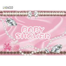 Laeacco Pink Baby Shower Backdrops For Photography Shiny Diamond Photocall Poster Portrait Backgrounds Photo Studio