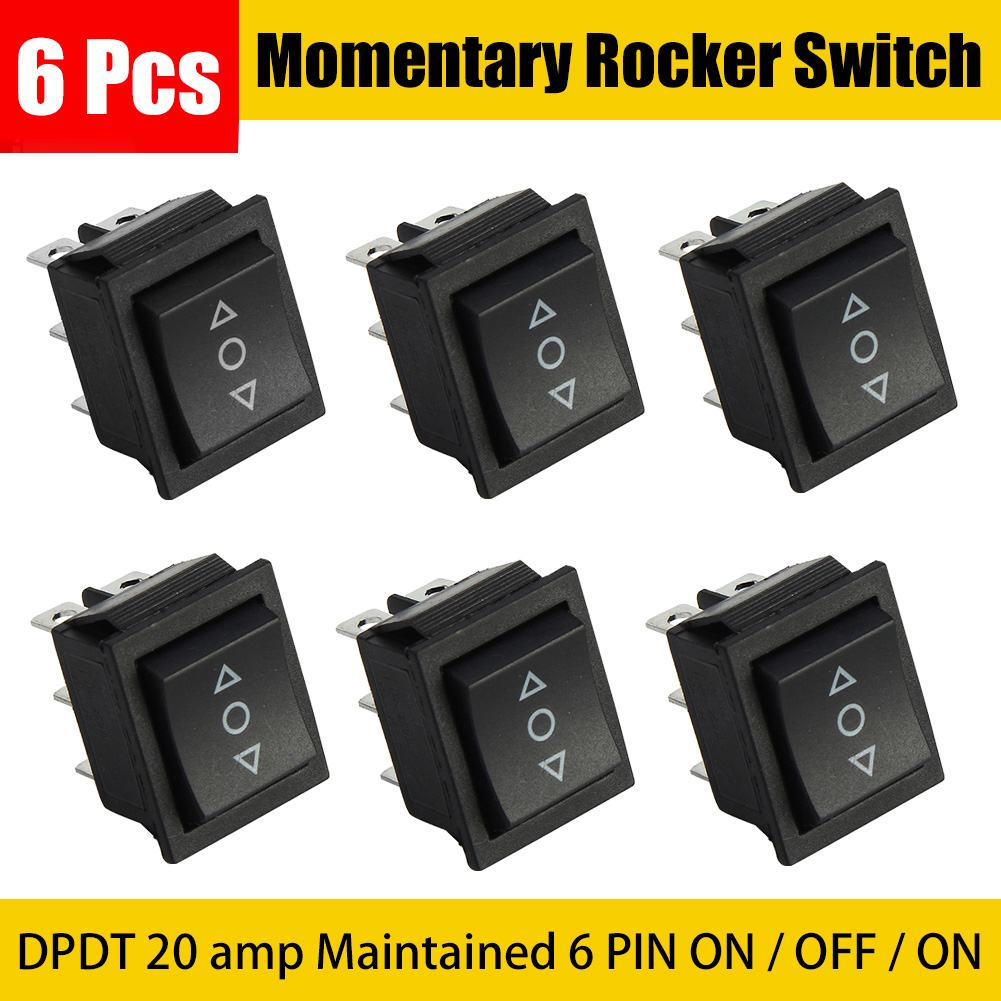 6pcs DPDT 20 amp Maintained 6 PIN ON / OFF / ON Momentary Rocker Switch image