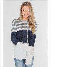 цена на 2019 Autumn NEW Stripe Hoodie Pullover Women Patchwork Long Sleeve  Drawstring Sweatshirt Sueter Feminino Ey*