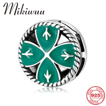 925 Sterling Silver Green Enamel Lucky Clover Round Clip Beads fit Original Reflection Charm Watch Bracelets Fine Jewelry Making(China)