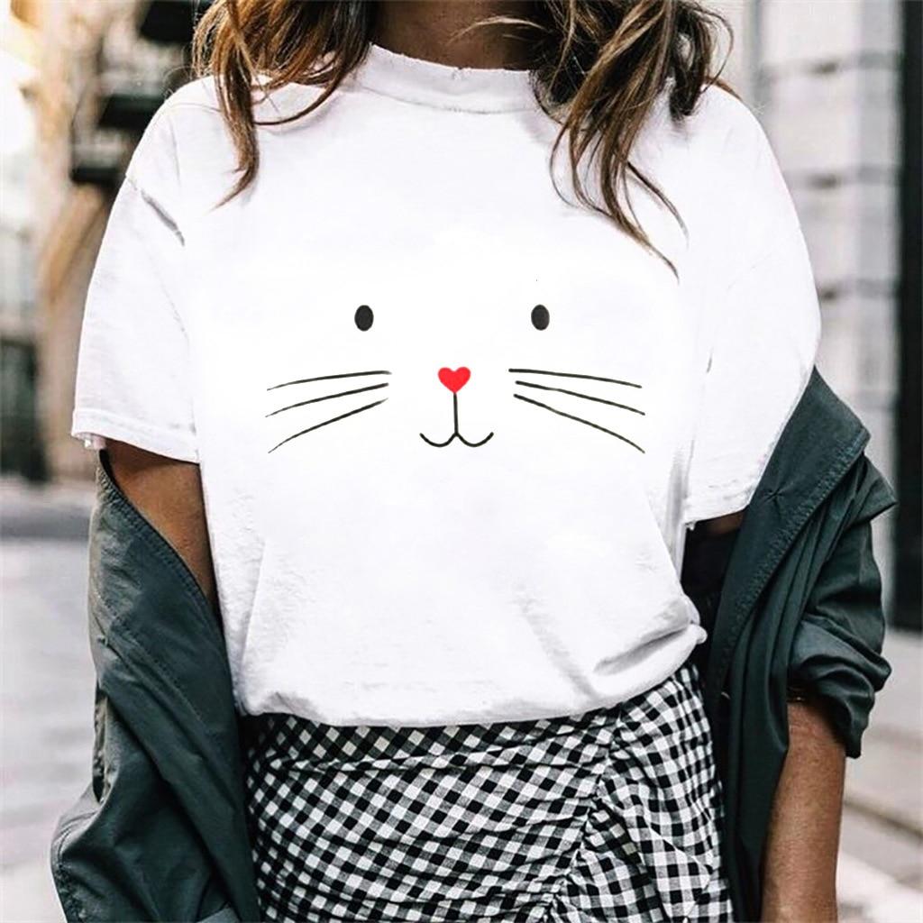 Cartoon Cat Face Print T Shirt Women Short Sleeve O Neck Loose Tshirt 2019 Summer Fashion Women Tee Shirt Tops