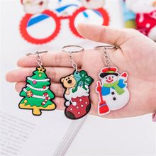 Cute Gift Key Chain Jewelry Cartoon Santa Claus Snowman Deer Christmas Keychain Key Ring Kids Key Holder Gift Wholesale new(China)