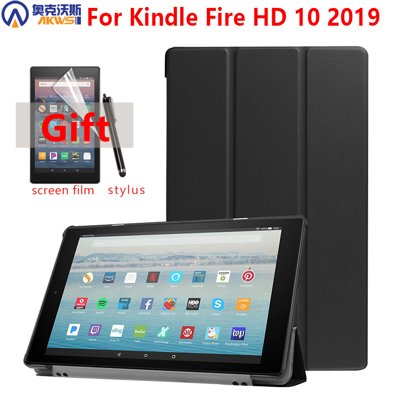 New Leather Case For Amazon Kindle Fire HD 10 2019 Magnetic Slim Cover For Kindle Fire 10 2019