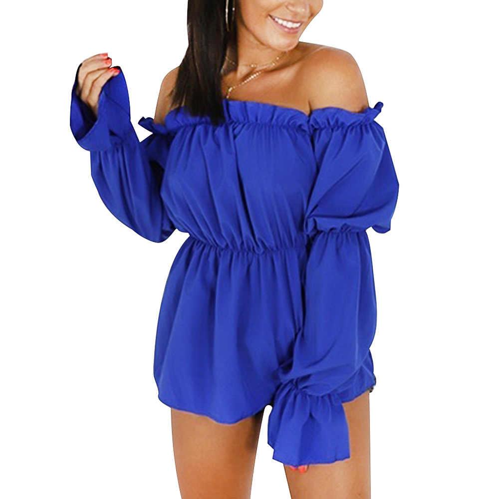 Ebay, amazon, estilo caliente, americano y americano novedad de verano estilo una palabra cuello y pecho camiseta con mangas abullonadas color sólido simple