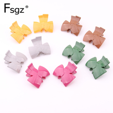 10 PCS Hot Ins Hairpins Candy Color Environmental PC Plastic Mini Barrette Solid Bowknot Shape Fringe Hair Clip Accessories