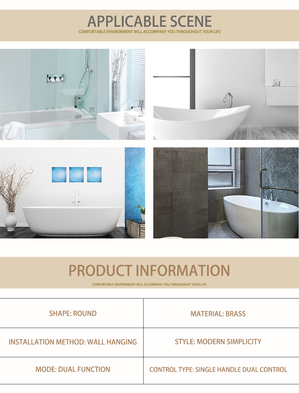"""H7b8f6475077642f89c65a1b0f438146bl Bathroom Bath Faucet Brass Diverter Mixer Tap Set Brushed Gold Rain Fall Valve System Kit Hand held 8-12""""Shower Head Wall Arm"""
