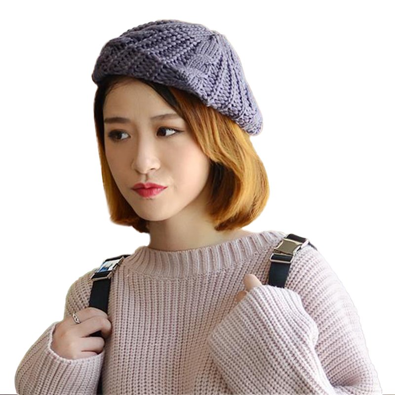 Sparsil Women Autumn Winter <font><b>Knitted</b></font> Beanies Cap Solid Elastic <font><b>Crochet</b></font> Twist <font><b>Pattern</b></font> Hat Foldable Fashion Skullies Female Bonnet image