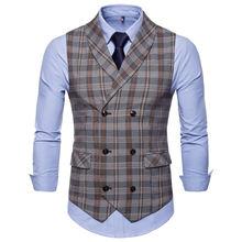 Хит продаж мужской костюм жилет Модный повседневный тонкий клетчатый