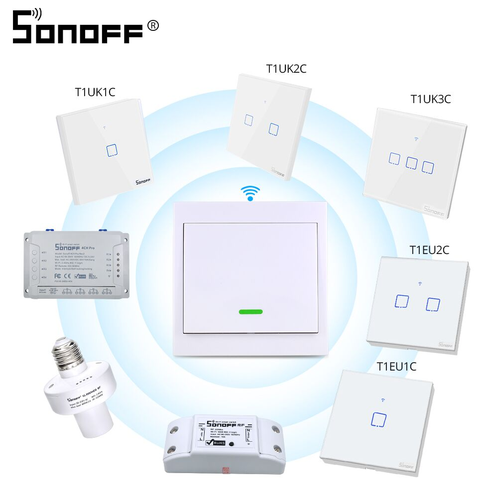 SONOFF RF Remote Controller 433Mhz Transmitter 86 Type Wall Panel Sticky Smart Home Support SONOFF RF/T1 EU/UK Wifi Switch 433
