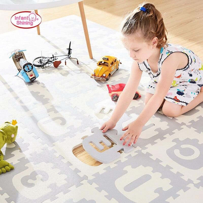 Infantile brillant Train alphanumérique enfant puzzle Pad bébé chambre antidérapant tapis de jeu 30*30*1.4cm