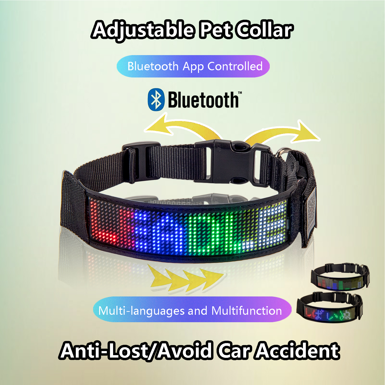 Scrolling Text Programmable Rechargeable Led Light Up Dog Collars Flash Leopard Collar Puppy Night Safety Pet Staying Visible At Light