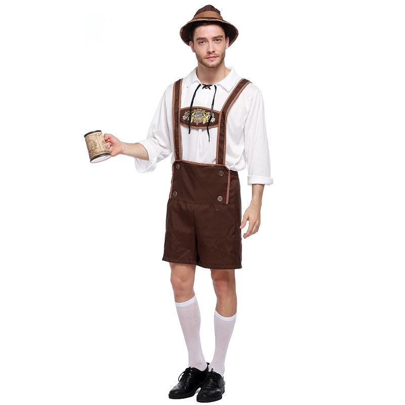 Germany Beer Festival Oktoberfest Bavarian Lederhosen Cosplay Costumes Adult Men Carnival Party Uniform Set
