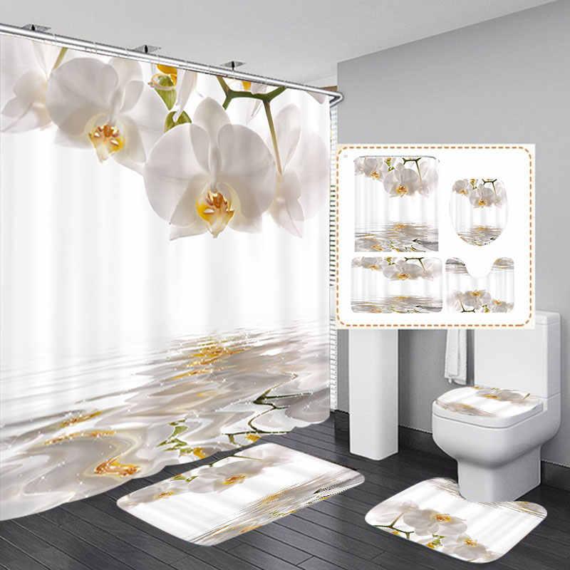 الأبيض الأوركيد الطباعة دش الستائر 3 قطعة طقم سجادة/ حصيرة للحمام مقاوم للماء البوليستر النسيج دش ستارة حمام مع 12 قطعة السنانير