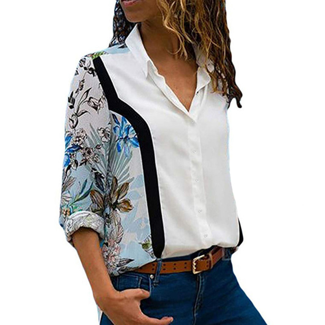 Ladies Fashion Patchwork Color Chiffon Blouse High Quality Casual Long Sleeve Tops Elegant Turn Down Collar Buttons Shirts S-3XL 5