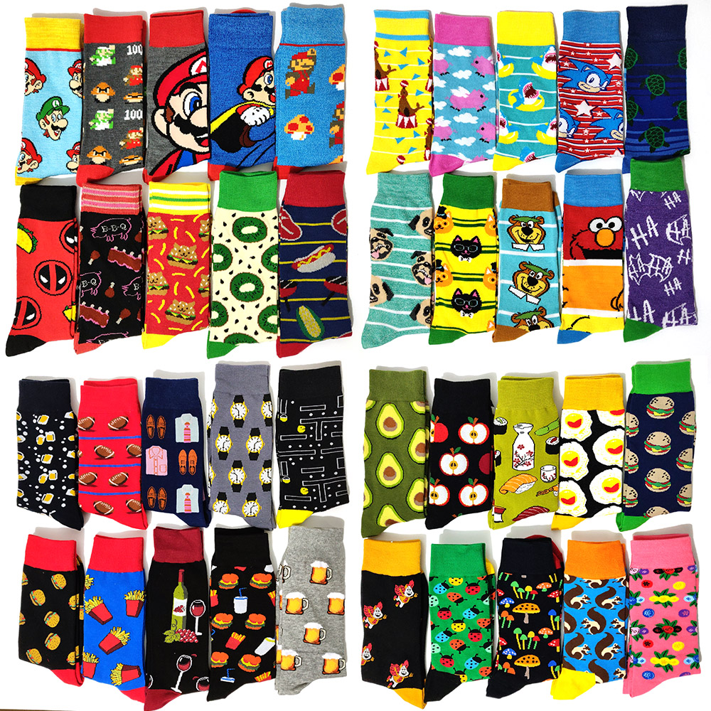5 Pairs/Pack Funny Novelty Men Cotton Socks Cartoon Rabbit Casual Hip Hop Creative Soft Comfortable Calcetines Hombre Divertido